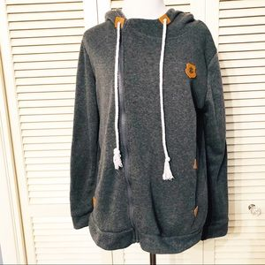 Fashion Basics | Gray Size Zip Anchor Hoodie